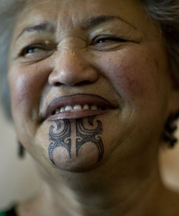 Kuia Pera Rangitaawa. Traditional Ngati Maniapoto Tribal Tattoo for women.