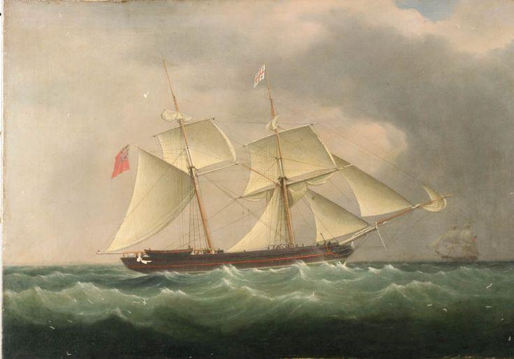 "1835 ca. ""A Trinity House brig"".  Unsigned. National Maritime Museum collections.rmg.co.uk     suzilove.com"
