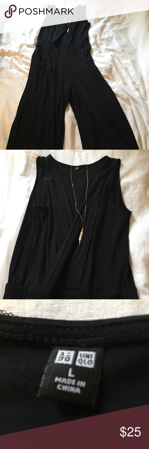 Classy and fun black pant suit This black jumpsuit is a perfect alternative to a little black dress!  Extremely comfortable and flattering, you will not want to take it off.  Gathers at the waist, wide leg pants.  Worn only one time to a bridal shower! Uniqlo Pants Jumpsuits & Rompers