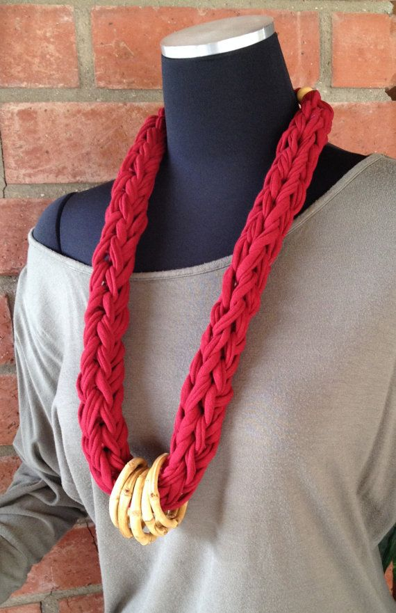 T Shirt Yarn Rope Necklace T-shirt Jewelry Bamboo Rings Wood Beads on Etsy, $20.00