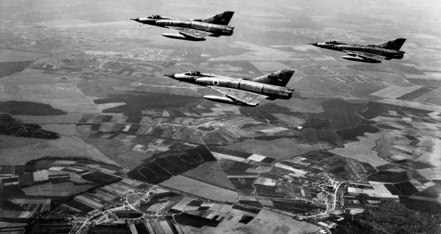 Israeli airforce Dassault Mirage III fighters fly over the Sinai peninsula at the Israeli-Egyptian border on the first day of the Six-Day Arab-Israeli war on June 5th, 1967. Photograph: AFP/Getty Images
