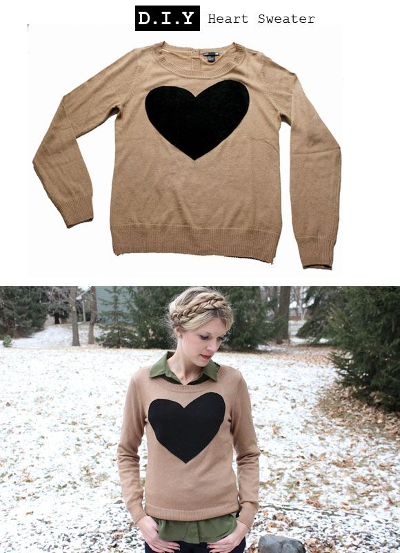 The sweater from JCrew: Heart Sweaters, Diy Heart, Clothing Refashion, Diy Sweaters, Clothing Diy, J Crew Heart, Diy Clothing, Diy J Crew, Diy Jcrew
