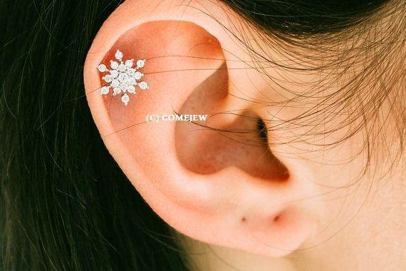 CZ Snowflake Tragus Earring, Snow Winter Theme,Snowflake Piercing,tragus…