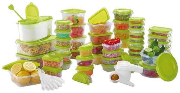 Frischhaltedosen Set, 112-teilig, grüne Deckel