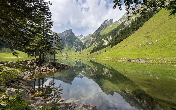 Scarica sfondi Alpi, montagne, lago, foresta, paesaggio bellissimo