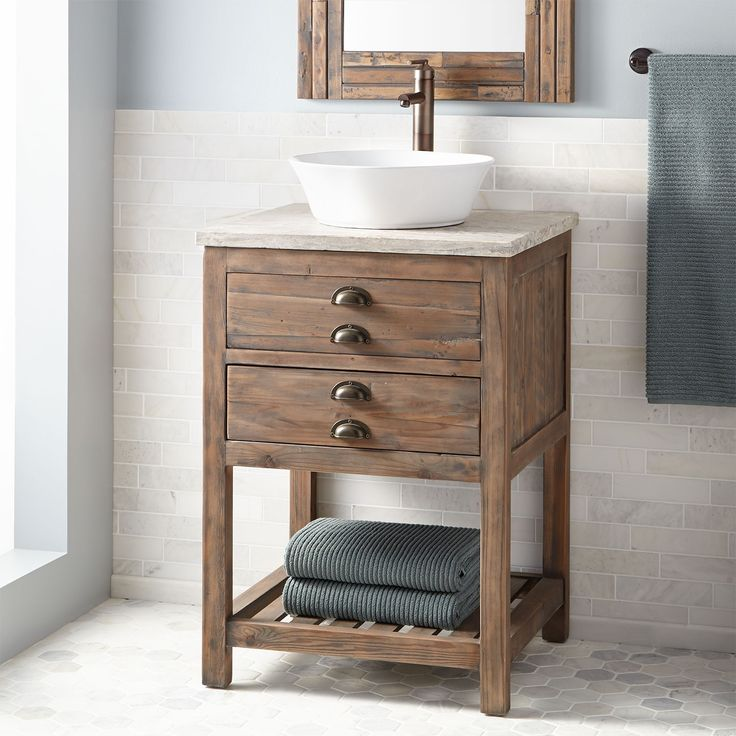 "SIGNATURE HARDWARE 24"" Benoist Reclaimed Wood Vessel Sink Vanity - Gray Wash Pine, $1107"