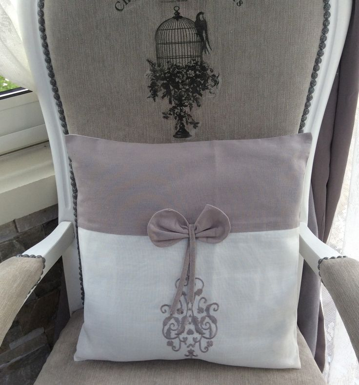 housse de coussin 40x40 blanc gris noeud broderie shabby chic chic shabby chic et textiles. Black Bedroom Furniture Sets. Home Design Ideas