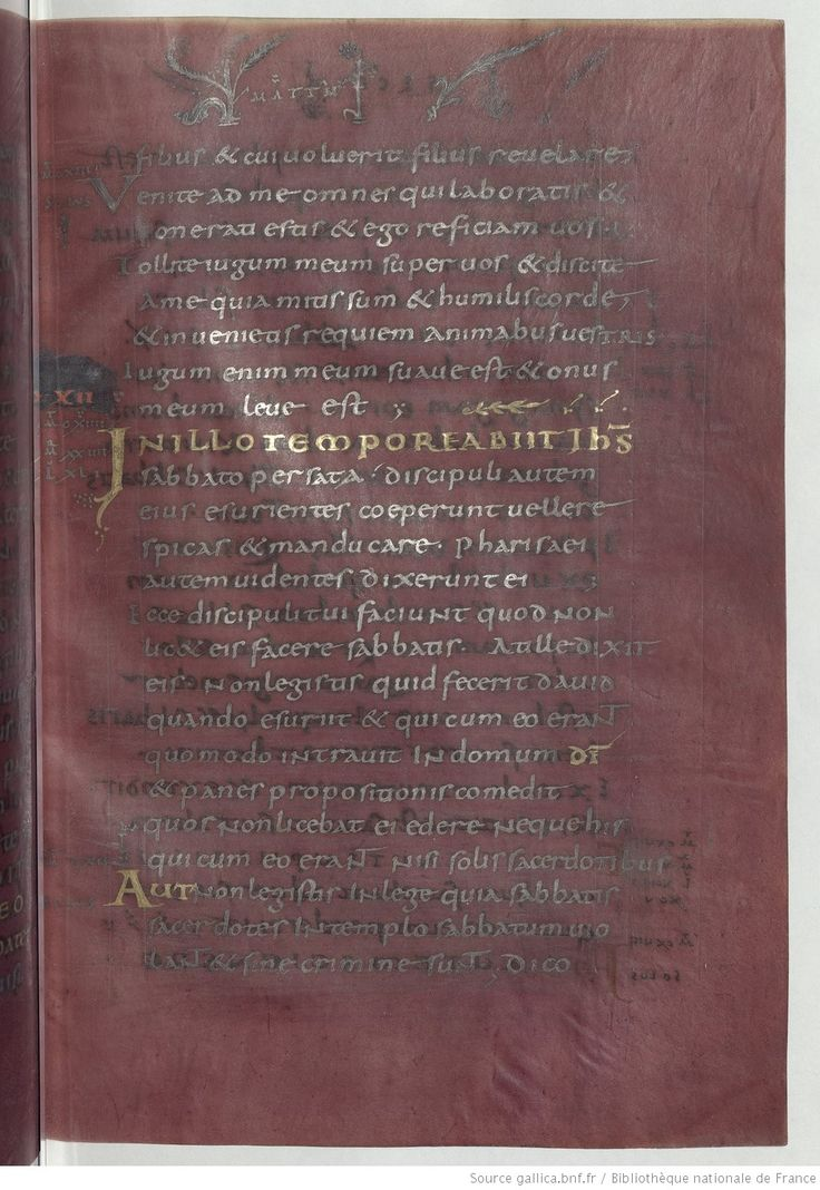 """This Gospel is an example of a """"Codex Purpureus"""". The parchment was dyed with purpled colourant, and written with gold and silver inks. Apparently, the """"Codices Purpurei"""" had imperial associations. In this sense, this manuscript would have been a gift from Charles the Bald to the abbey of Saint-Denis, according to a legend.    Source: gallica.bnf.fr / Bibliothèque nationale de France. According the site of the BNF, the reutilization of documents for a non-commercial purpose is free."""