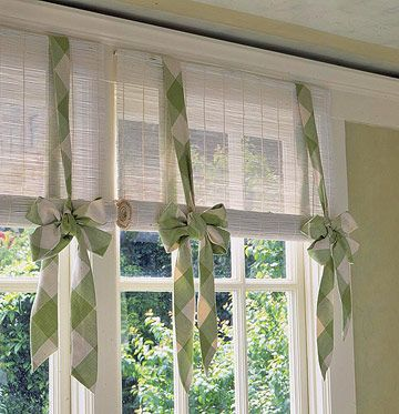 Dressed-Up Matchstick Blinds  Matchstick blinds work well for kitchens. Add your own personal touch with flouncy fabric ties.  Make the ties about 7 inches wide and twice the length of the window. Fold each strip in half lengthwise, right sides together, and stitch along the raw edges, leaving an opening for turning the strip right side out.