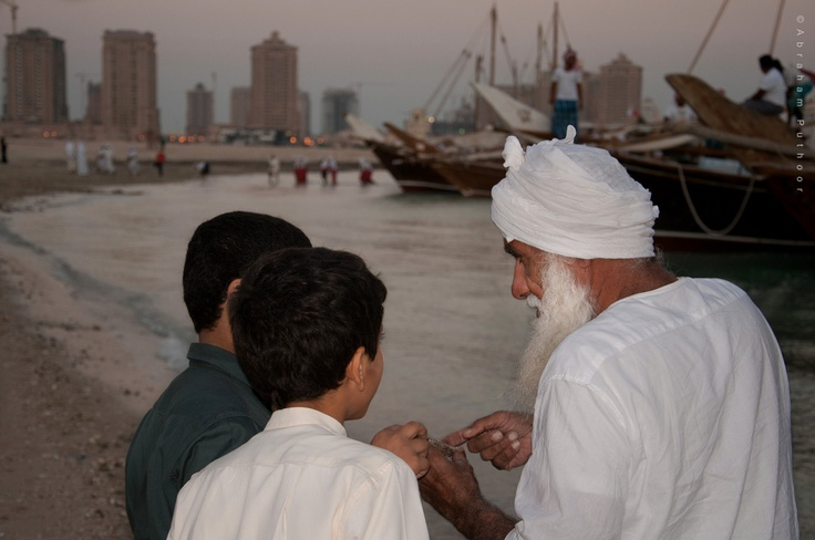 Qatar Dhow Festival | Arab Pearl Diver Exhibiting And Explaining The Details Of His Catch. https://www.facebook.com/SinbadsQatarPocketGuide  credit: Abraham Puthoor #qatar