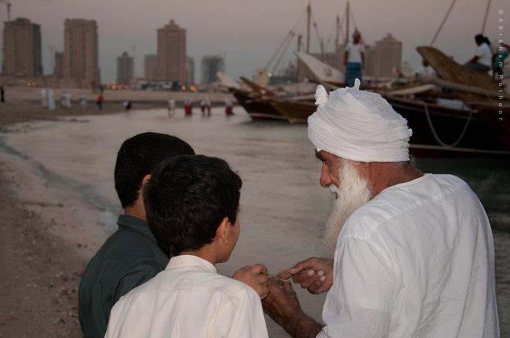Qatar Dhow Festival | Arab Pearl Diver Exhibiting And Explaining The Details Of His Catch. https://www.facebook.com/SinbadsQatarPocketGuide  credit: Abraham Puthoor #qatar