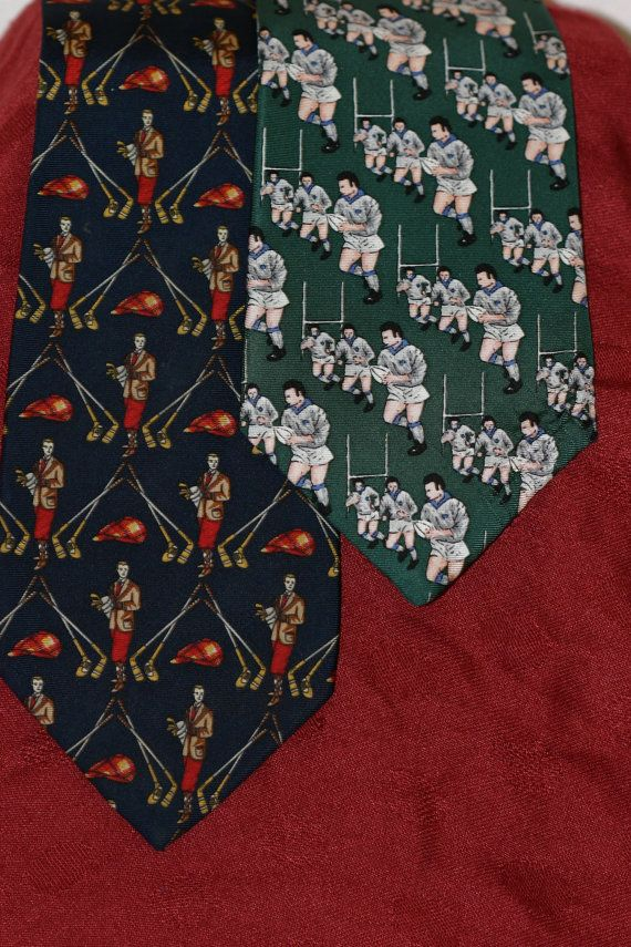 2x pure silk Tie Rack sports ties: Rugby and Golf