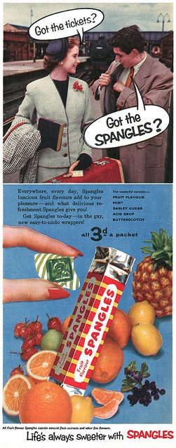 Candy's great, but I think the tickets are a wee bit more important! candy vintage ad 1950s