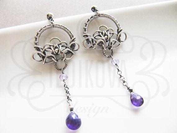 OOAK Handmade wire wrapped deep purple 1/4 carat chain by ildikova, $99.00