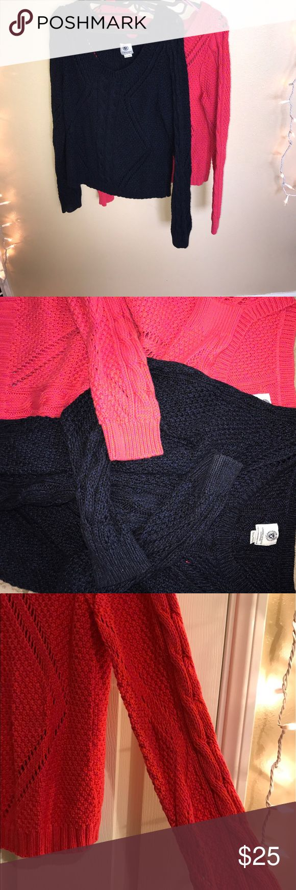 American Eagle sweater bundle 2 American Eagle sweaters. One is pink with orange tones and the other is blue with black tones. Pictures show exact detail! Worn a few times. Perfect with a pair of jeans! Offering a bundle to save on shipping! American Eagle Outfitters Sweaters Crew & Scoop Necks