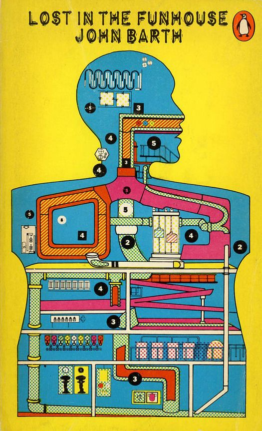 """1972 cover by Eduardo Paolozzi for John Barth's """"Lost in the Funhouse."""""""