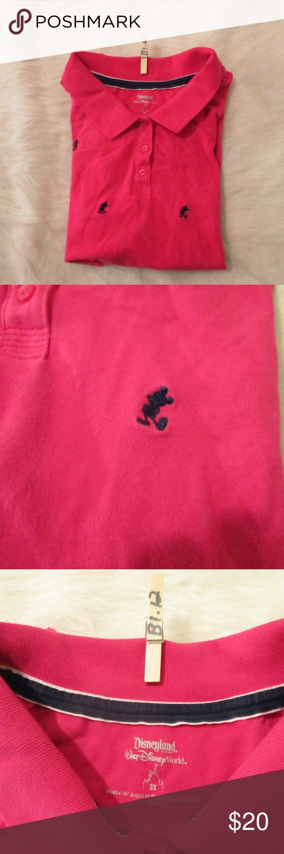 """Walt Disney World Women's 3X Tee Micky Mouse Walt Disney World Women's 3X Tee Pink Polo Shirt Micky Mouse Disneyland T-Shirt     1  100% COtton  Size 3xl    Measures 24"""" across bust  Measures 24.5"""" long, from center back  Sleeves measure 7"""" from shoulder seam  Gently worn, good condition Walt Disney World Tops Tees - Short Sleeve"""