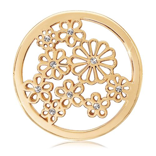 "Nikki Lissoni Swarovski Sparkling Daisies Coin - Medium Gold-Tone - Nikki Lissoni medium gold-tone Swarovski Sparkling Daisies coin insert for interchangeable, personalized fashion and style. Fits into the Nikki Lissoni medium (1-1/2"") coin holder pendants. Personalize your pendant with any of the medium coins we have available, and don't forget ... the chains and pendant holders are available in various colors — gold, rose gold, and silver! #NikkiLissoni"