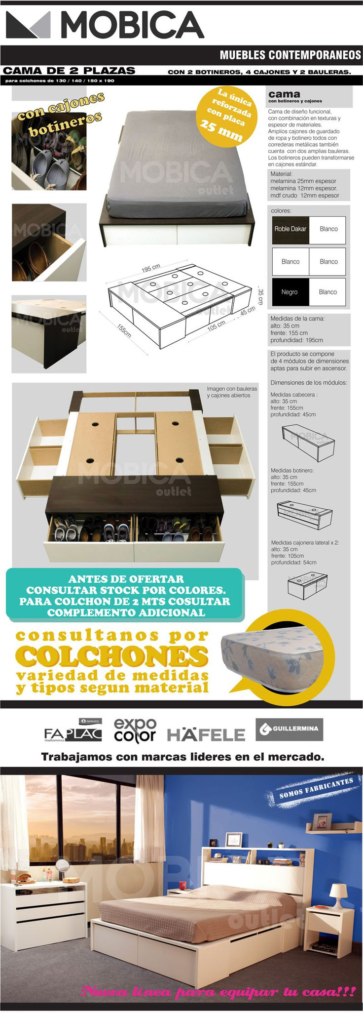 Cama 2 Y 1/2 Plazas Con 4 Cajones 2 Botineros 2 Bauleras - $ 5.160,00 en MercadoLibre