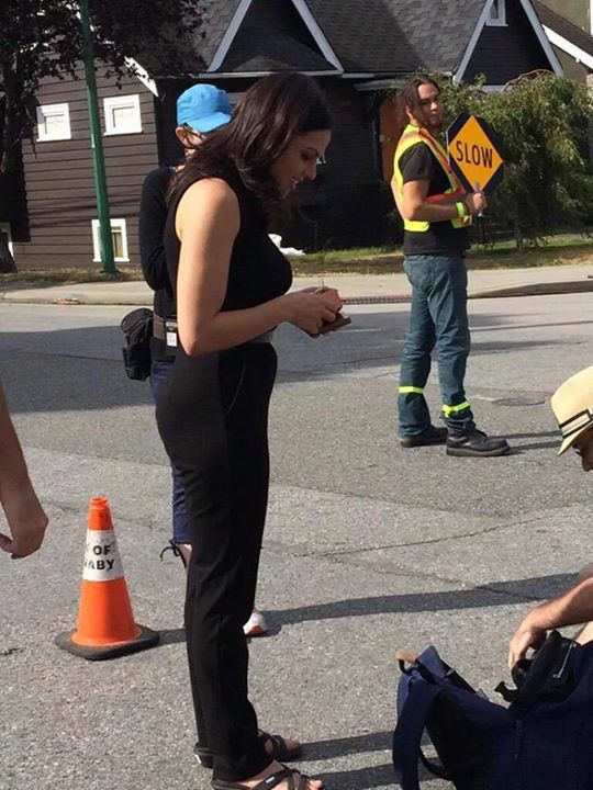 Awesome Lana (Regina) Lana looking at something on her awesome iPhone 5s or 6 #Once #BTS the awesome Once S5 E5 #Dreamcatcher #Steveston Village #Richmond Vancouver BC Friday 8-21-15