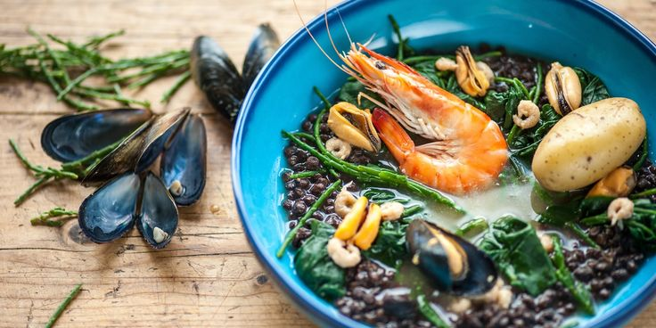 Frances Atkins' turns a seafood stew into something really special, decorating it to look like a rock pool - a perfect recipe to try with children