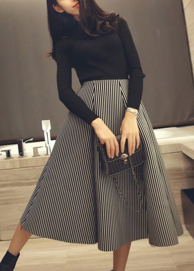Black Long Sleeve Sweater and Striped Midi Flare Skirt Set, Fall Outfits!