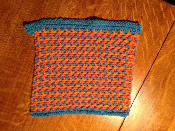 Turquoise, white & orange triple L tweed