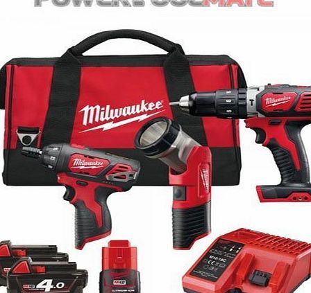Milwaukee M18SET2J-423B 12v/18V Percussion Drill and Driver Powerpack Kit Includes: M18 Compact Percussion Drill M12 Sub Compact Single Speed Driver M12 Work Light M12-18C Combo Charger M18 4.0Ah 18v RED Li-Ion Battery Packs - x2 M12 2.0Ah (Barcode EAN = 4002395138135) http://www.comparestoreprices.co.uk/latest2/milwaukee-m18set2j-423b-12v-18v-percussion-drill-and-driver-powerpack.asp