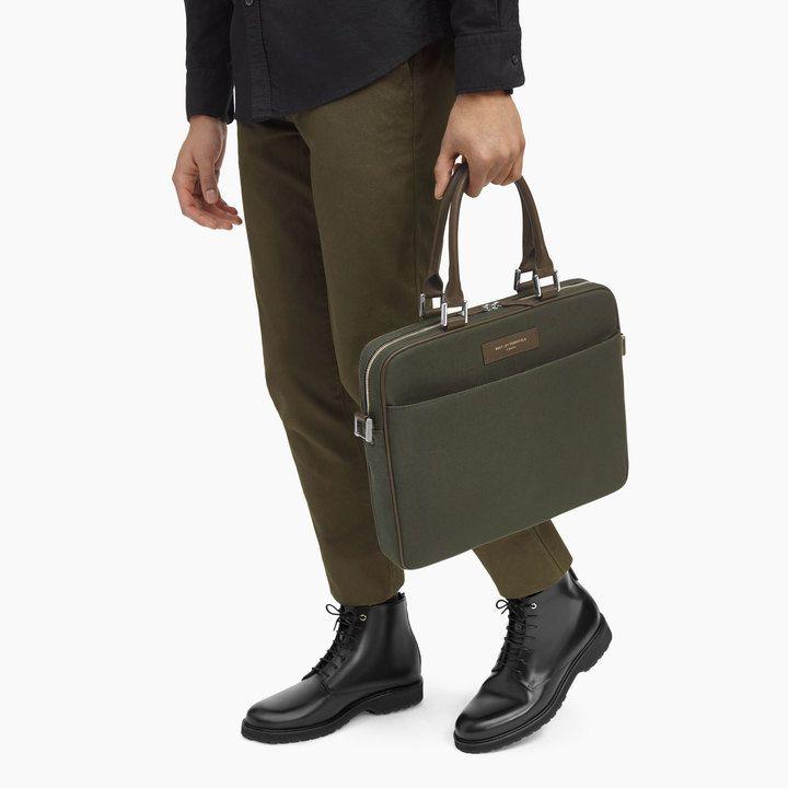 A/W 16 Haneda laptop bag in Olive/Gunmetal