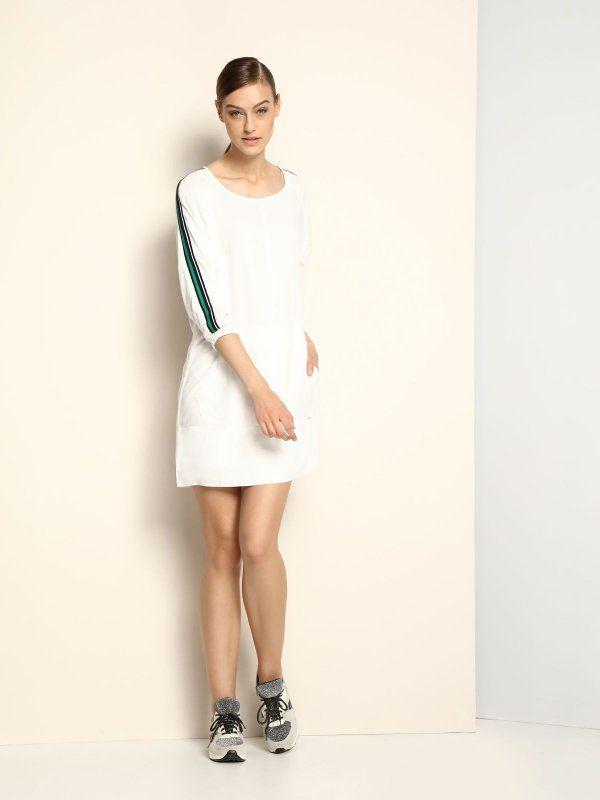 sukienka damska  biała - DSU0052 DRYWASH