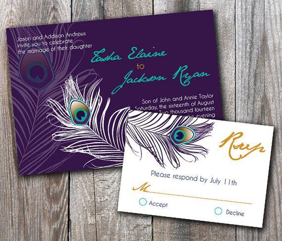 Peacock Wedding Invitation Sample Set by DesignsbyAdj on Etsy, $3.50