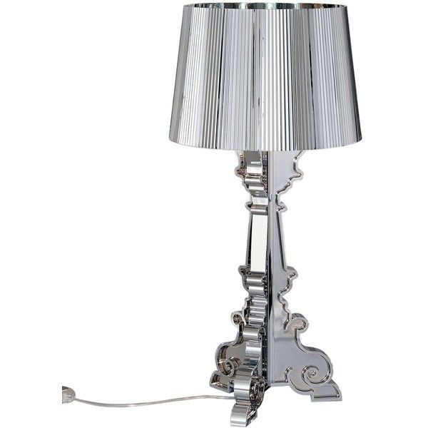 Kartell Home Bourgie Metallic Table Lamp (1,470 SAR) ❤ liked on Polyvore featuring home, lighting, table lamps, silver, kartell lamp, round table lamp, round lamp, circular lights and metallic lamp