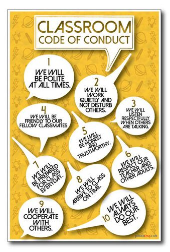 Classroom Code of Conduct - NEW Motivational School Behavior Polite PosterEnvy Work Listen Respectful Trustworthy Poster