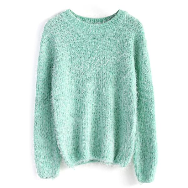 Chicwish Basic Fluffy Sweater in Mint featuring polyvore, women's fashion, clothing, tops, sweaters, shirts, jumpers, green, sweater pullover, pullover shirt, mint green sweater, boat neck shirt and green pullover sweater