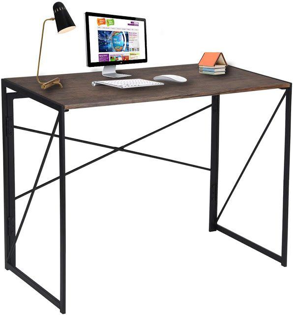 Comfyzfurniture Coavas Folding Desk Modern Computer Desk Industrial Style Desk Simple Study Desk