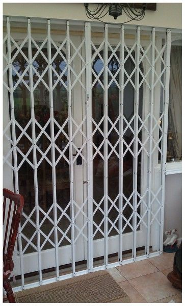 White Trellis Security Storm Doors