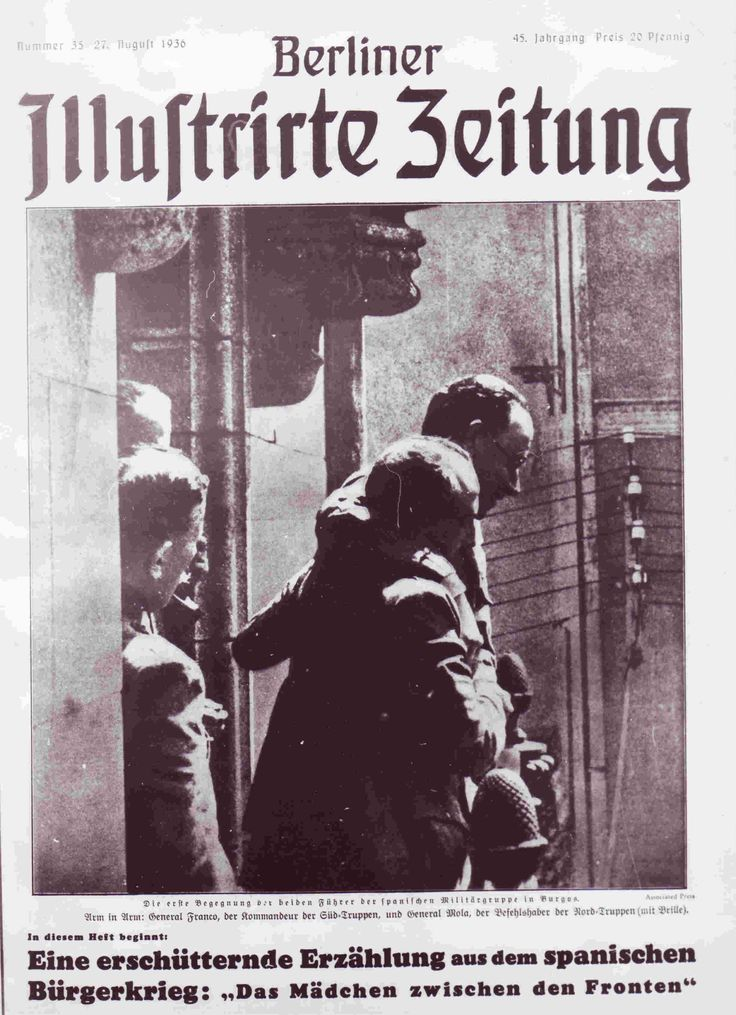The Berliner Illustrirte Zeitung pioneered modern photojournalism and was widely copied. Pictured, the cover of issue of 26 August 1936: a meeting between Francisco Franco and Emilio Mola.