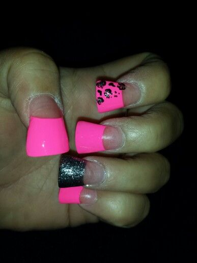 Hot pink and glitter flare nails