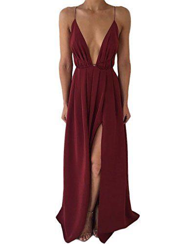 VintageRose Womens Chiffon Spaghetti Strap Deep V Neck High Slit Maxi Dress  Wine Red X-Large f9c17a95e