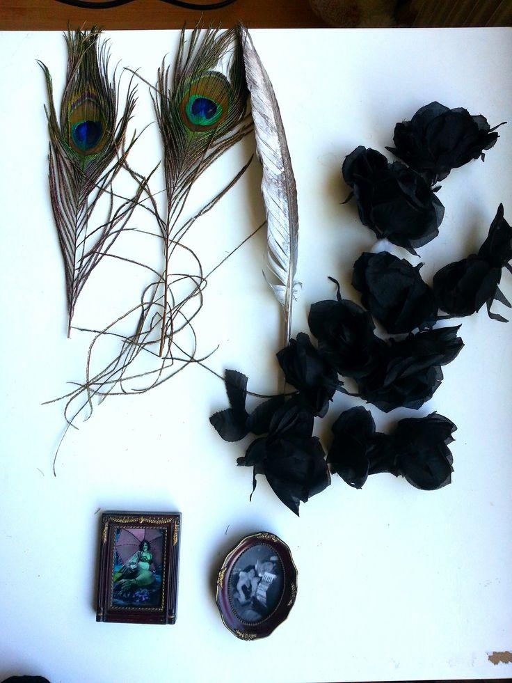 Pauwenveren, zilveren veer, zwarte rozen, lijstjes