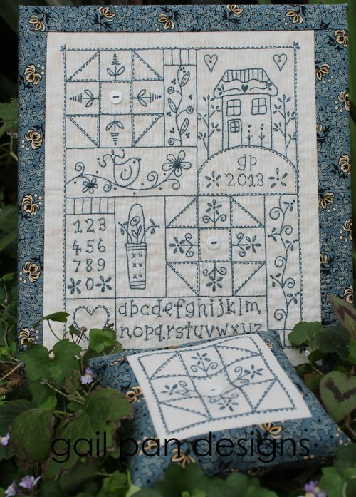 Sampler in blue  This is so beautiful!  Why have I not found you sooner Gail Pan!!!