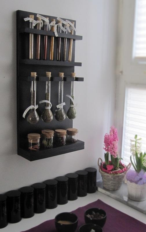 DIY test tube spice rack
