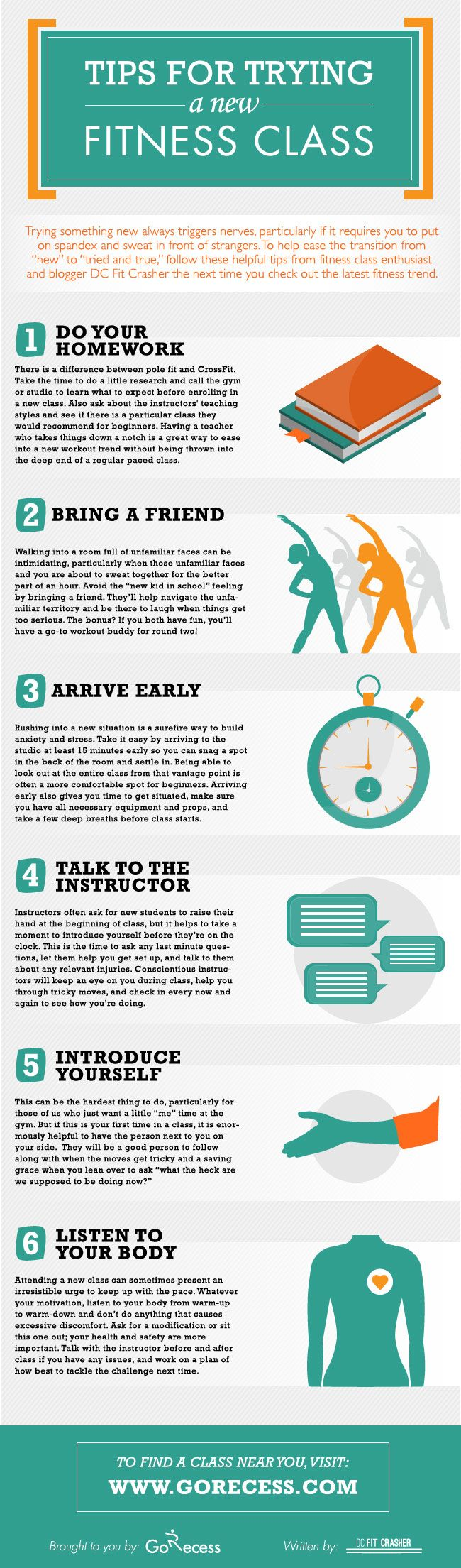 Use this #infographic for #tips on getting started in a new Group Exercise Class or Small Group Training at Elite! NOW is always the best time to start!