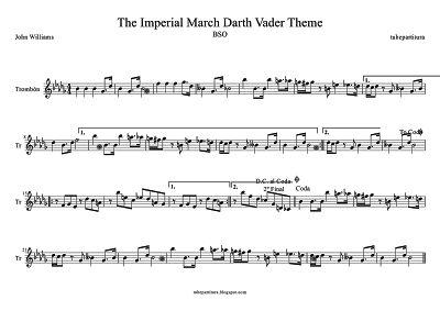 Marcha Imperial de John Williams partitura para Trombón Música de la Banda Sonora de La Guerra de las Galaxias Tema de Darth Vader