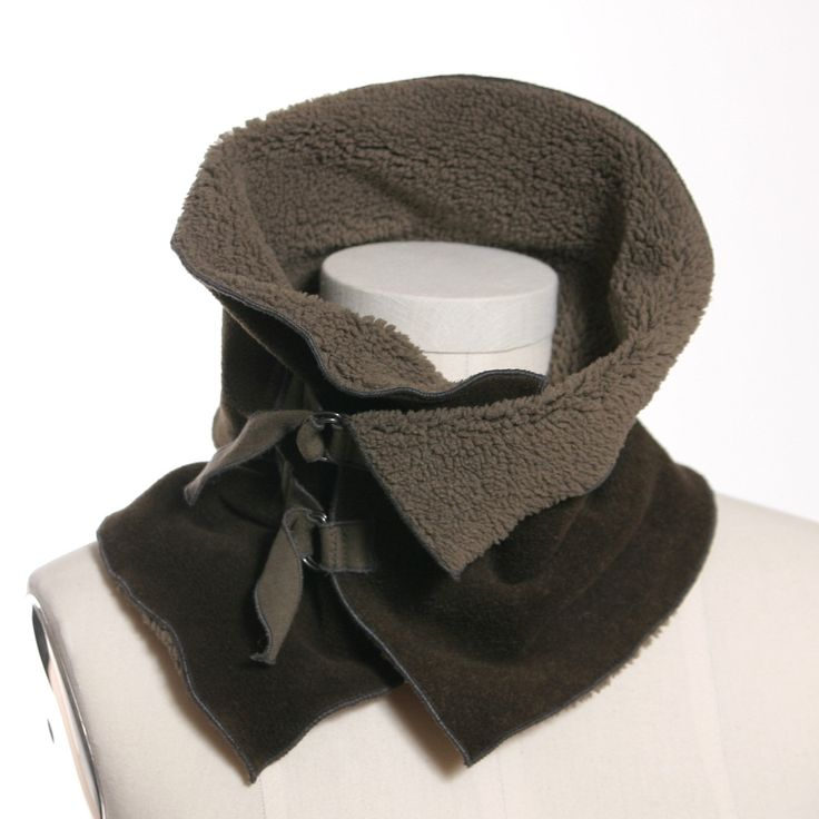 Olive and Sage Reversible Buckle Close Cowl Neck Wrap - Unisex. $48.00, via Etsy.