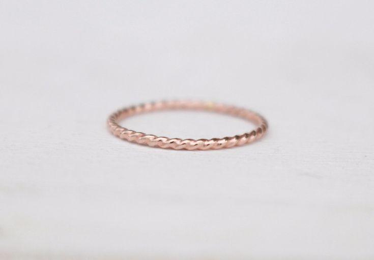 Vergoldete Ringe - 14 K Rosegold Ring Kordelring