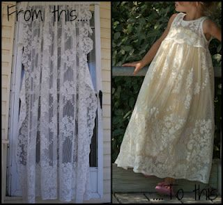 upcycled curtain to girls lace dress.  That dress is gorgeous- want to try!