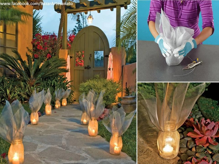 Light up your walkway...Save those old pasta sauce jars, add a flameless votive candle, some shimmery fabric and a ribbon...or just opt for the ribbon.