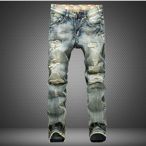 Men's Famous Holes Frazzle Casual Leisure Denim Long Light Blue Jeans