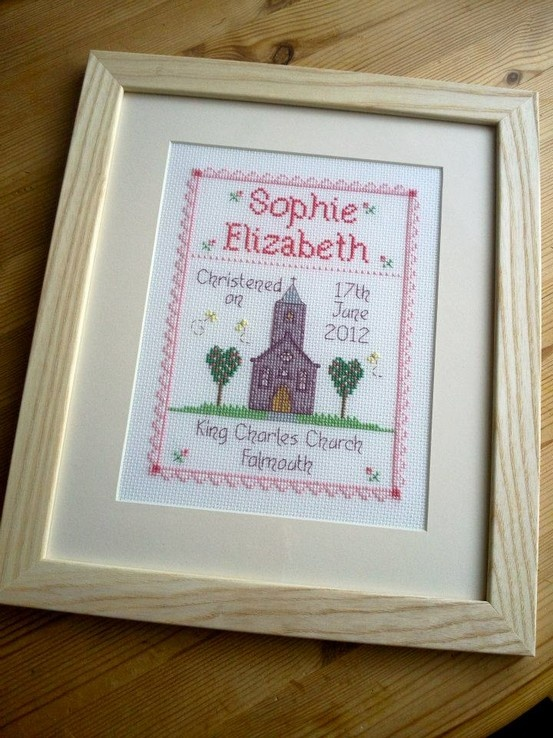 No link just a pic but cute idea - an alternative to a birth announcement.  it's a baptism/christening announcement.